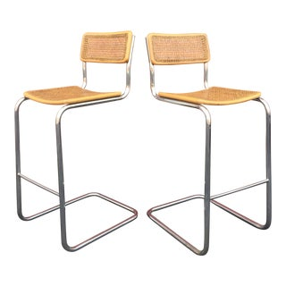 Mid-Century Cane Cesca Bar Stools With Chrome by Marcel Breuer - A Pair