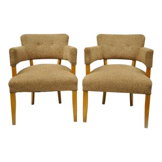 Jens Risom for Heywood Wakefield Mid-Century Modern Maple Club Lounge Chairs - a Pair