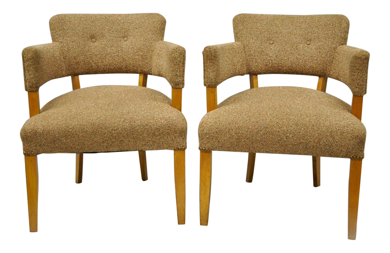 Attractive Jens Risom For Heywood Wakefield Mid Century Modern Maple Club Lounge Chairs    A Pair