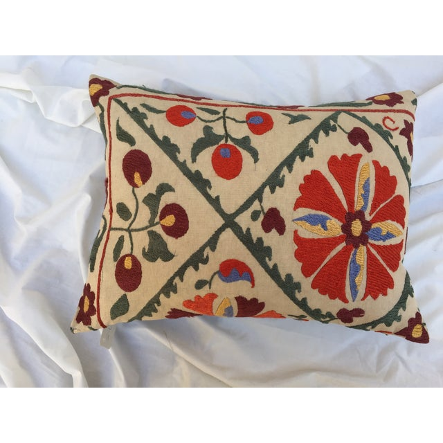 Image of Antique Embroidered Turkish Suzani Pillow