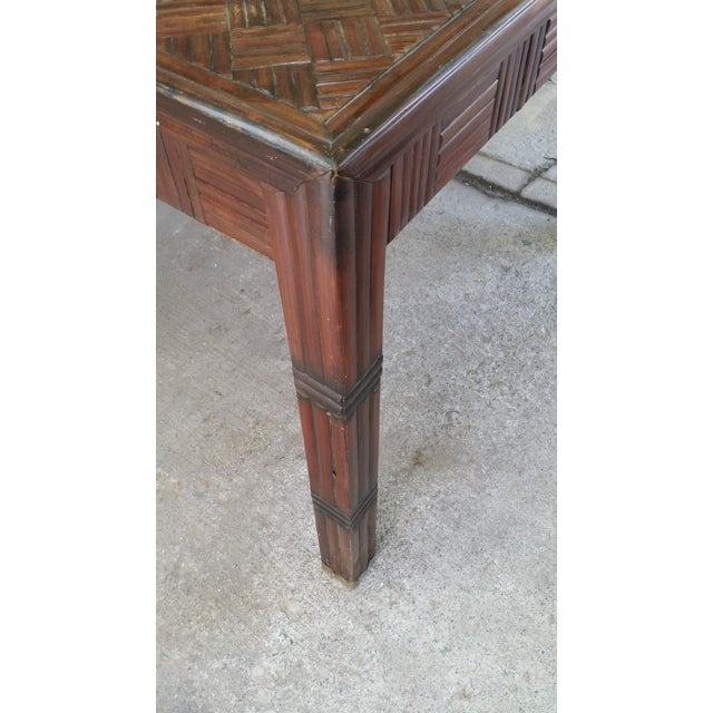 Tessellated Bamboo & Wood Dining Table - Image 4 of 6