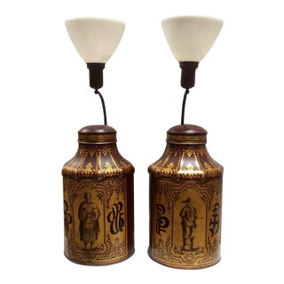 English Chinoiserie Tea Canister Lamps - A Pair