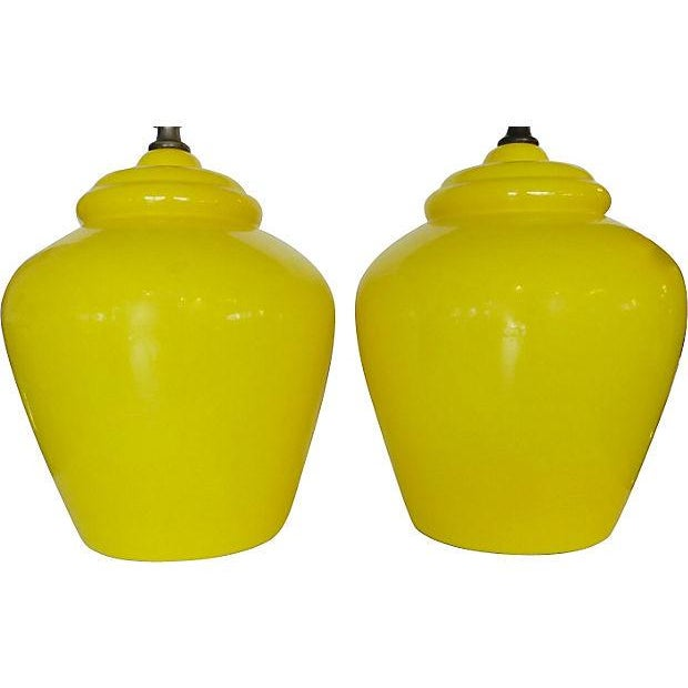 Daffodil Mid-century Ceramic Lamps- A Pair - Image 5 of 5