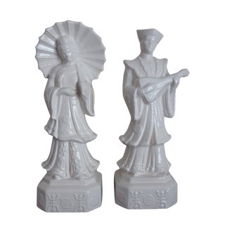 White Porcelian Asian Figures - Pair