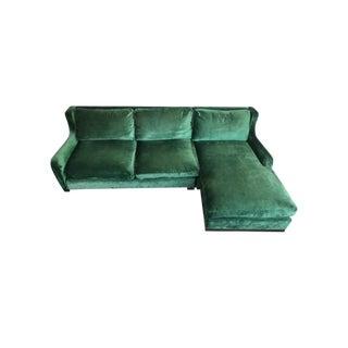 Contemporary Green Velvet Sectional