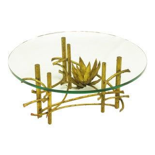 Brutalist Gilt Iron Lotus Coffee Table