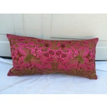 Image of Vintage Asian Pink Silk Crane Boudoir Pillow