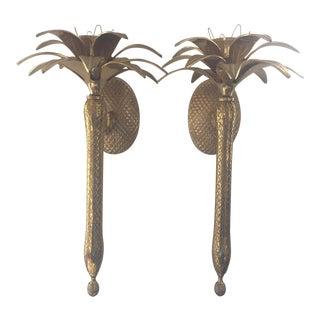Vintage Brass Pineapple Sconces - A Pair