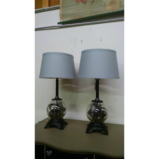 Image of Vintage Black & Glass Orb Table Lamps - A Pair