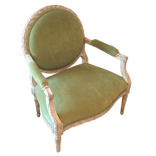 Velvet Upholstered Oversized French Style Chair
