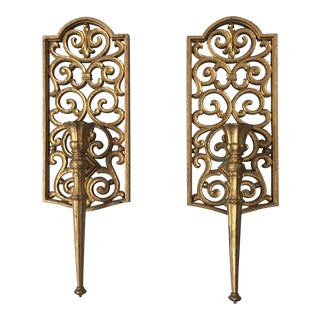 Syroco Gilded Scrolling Candleholder Sconces - A Pair