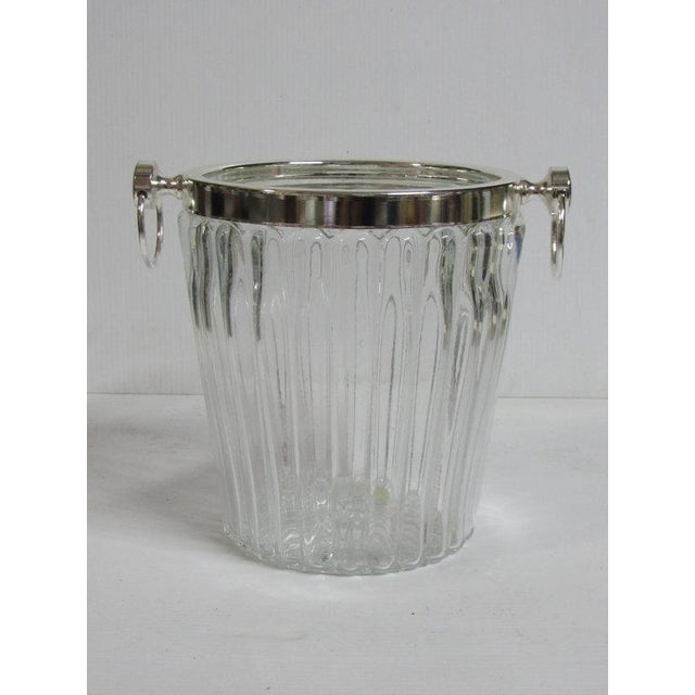 Image of Silver Plate Champagne Stand & Crystal Bucket Set