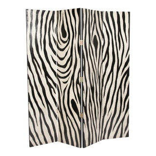 Eggshell and Lacquer Zebra Pattern Four Panel Folding Screen