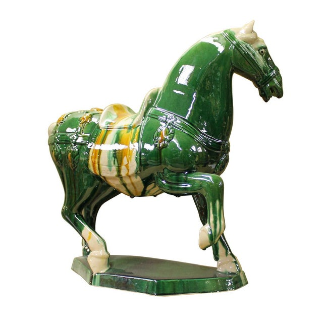 Chinese Green & White Ceramic Marching Horse Figure - Image 3 of 5