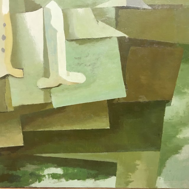Image of Mid-Century Green & Tan Cubist Oil Painting