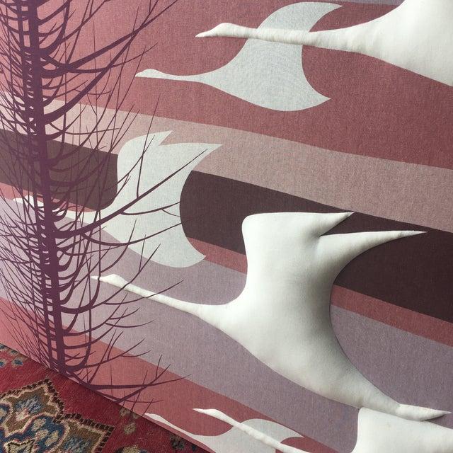 Vintage Puffed Geese on Purple Textile Art - Image 6 of 6