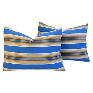 "21"" X 16"" Custom Tailored Blue & Tan French Ticking Feather/Down Pillows - Pair"