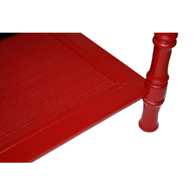 Mersman Faux Bamboo Red End Tables - A Pair - Image 6 of 7