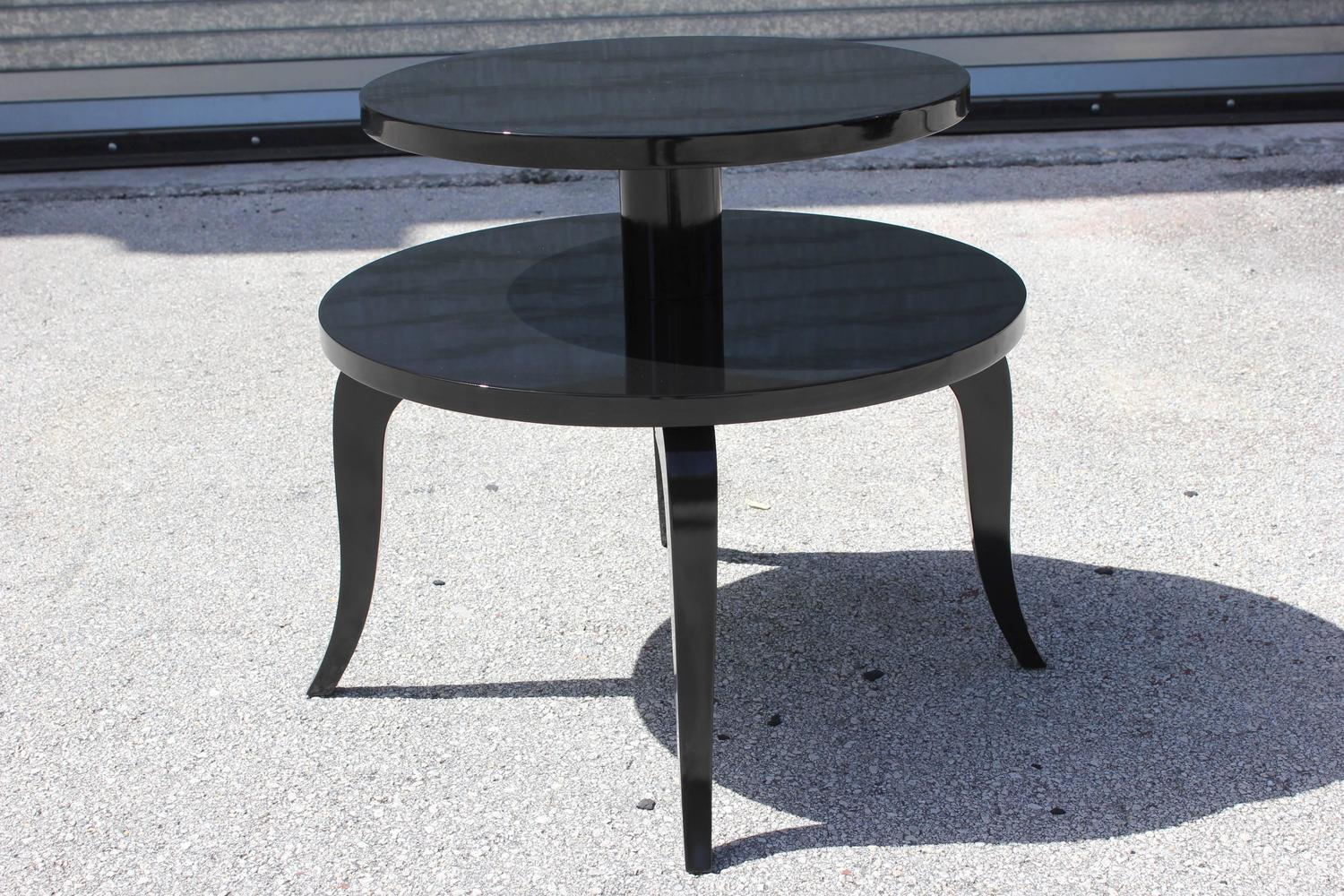 French Art Deco Black Lacquer Side Table   Image 4 Of 7