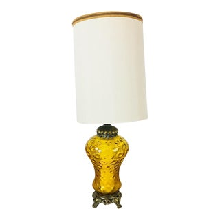 Mid-Century Modern Amber Glass Table Lamp