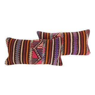 Striped Turkish Kilim Pillows - A Pair