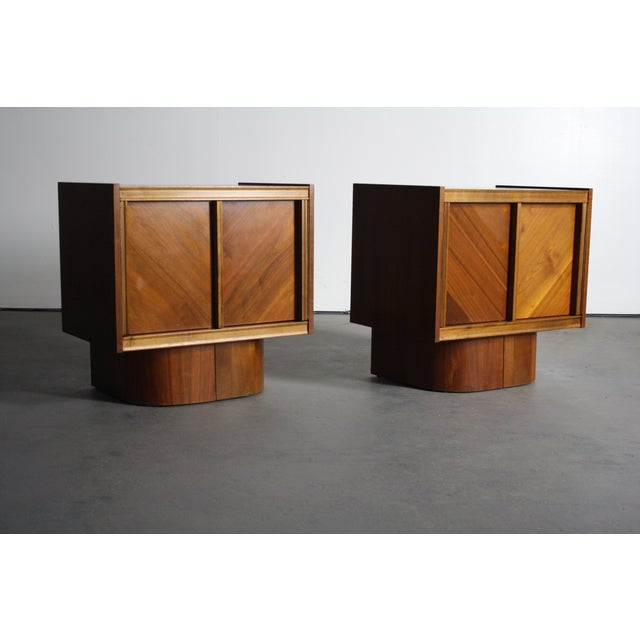 Mid-Century Book-Match Walnut End Tables - A Pair - Image 9 of 10