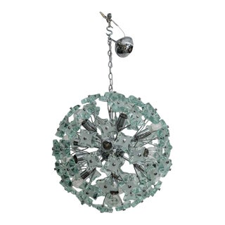 60's Italian Green Glass Sputnik Chandelier