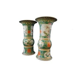 Hand Painted Famille Verte Gu Vases - A Pair
