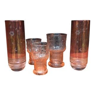 Vintage Pink Floral Glasses - Set of 5