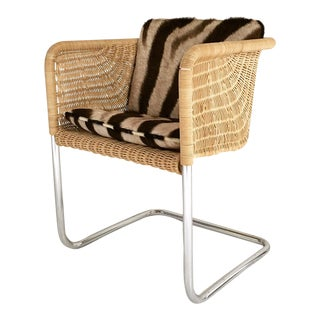 Harvey Probber Wicker and Chrome Chair with Zebra Cushion