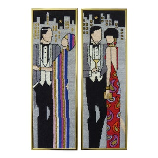 Vintage Art Deco Couples Needlepoint - A Pair