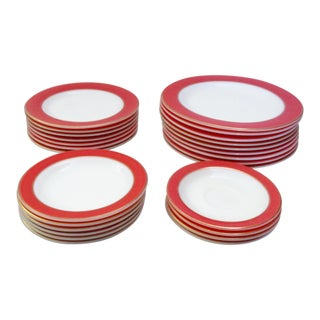 Flamingo Pink Pyrex Gold Rim White Milk Glass Plates - Set of 26