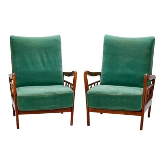 Pair Italian Open Work Wingback Lounge Chairs In Manner of Paolo Buffa