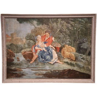 18th Century French Louis XVI Romantic Painting on Canvas with Grey Frame circa 1760