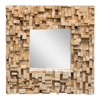Brutalist Style Custom-Made Wood Block Mirror