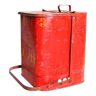 Vintage Industrial Red Metal Trash Can with Flip Top Lid