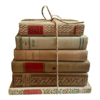 Cream Colored Vintage Books - Set of 6