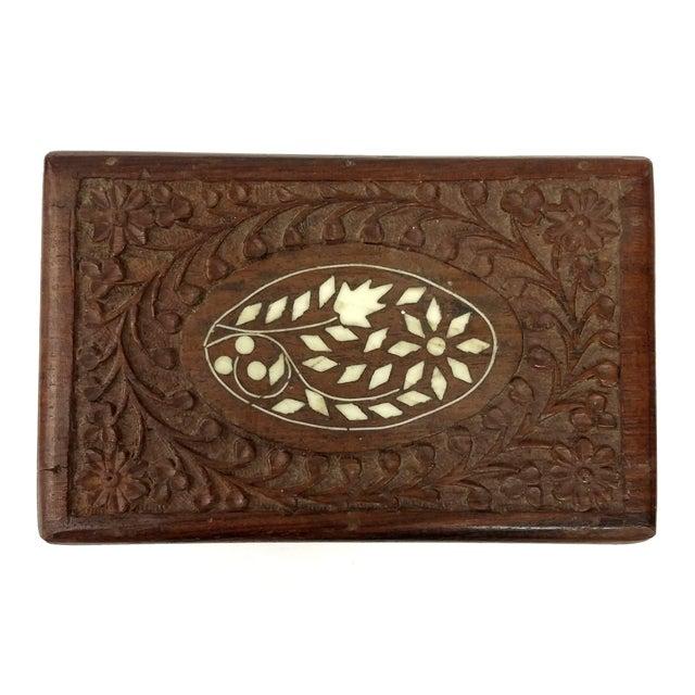 Vintage Sandalwood Carved Trinket Box India - Image 2 of 8