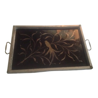 Hollywood Regency Black Mirrored Birds Tray