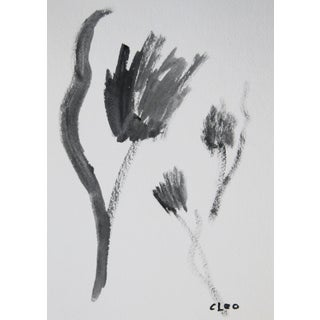Abstract Black & White Floral Painting by Cleo