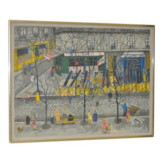 """1960s Nathalie Chabrier """"Chez Pedro"""" Pencil Signed & Numbered Lithograph"""