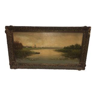 G. Otter Dutch Landscape Oil on Canvas Painting