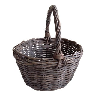 Rustic Gray Wood Basket