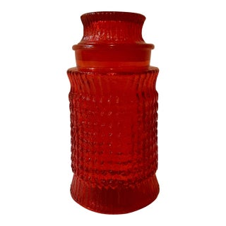 Mid-Century Modern Lidded Red Glass Jar