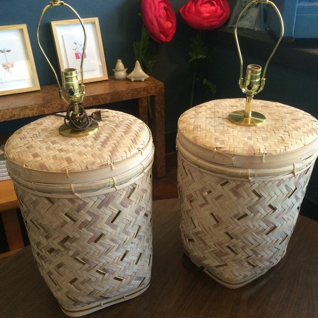 Rattan Basket Lamps With Brass Accents - a Pair - Image 4 of 7