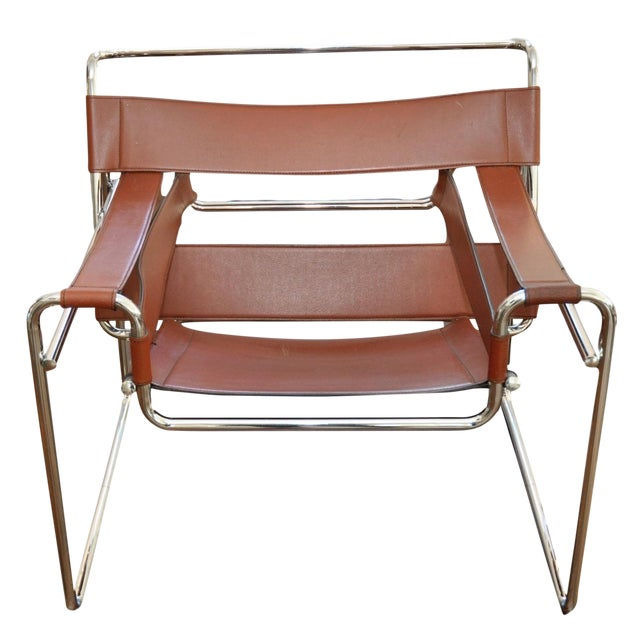 Image of Reproduction Mid-Century Wassily Leather & Chrome Chairs - Pair