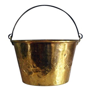 Antique Brass Bucket / Firewood Holder / Cauldron