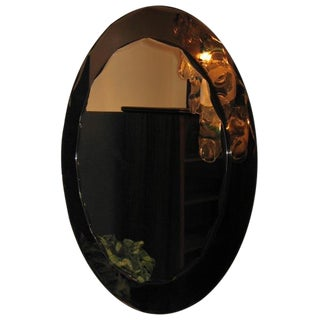 Oval Two Toned Wall Mirror, Italy circa 1955