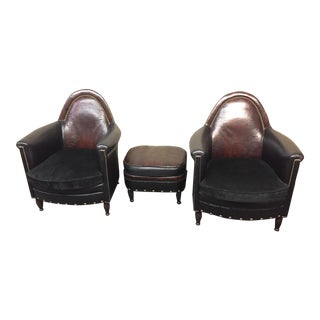 Bradington-Young Leather Chairs & Ottoman - 3