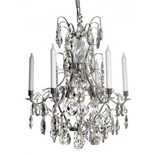 Baroque Chandelier - 6 Arms Candles Silver
